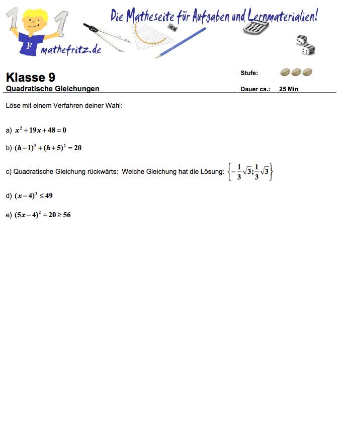 Quadratische Gleichungen Aufgaben: PDF Übungen quadratische Gleichung