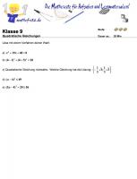 Arbeitsblätter quadratische Gleichungen