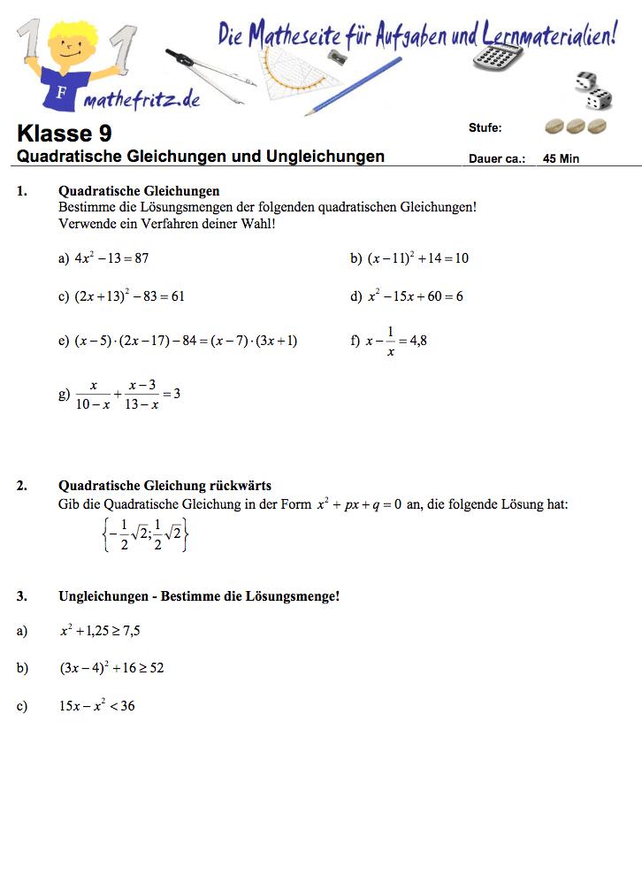 Arbeitsblatt Binomische Formeln : Quadratische gleichungen klassenarbeit aufgaben
