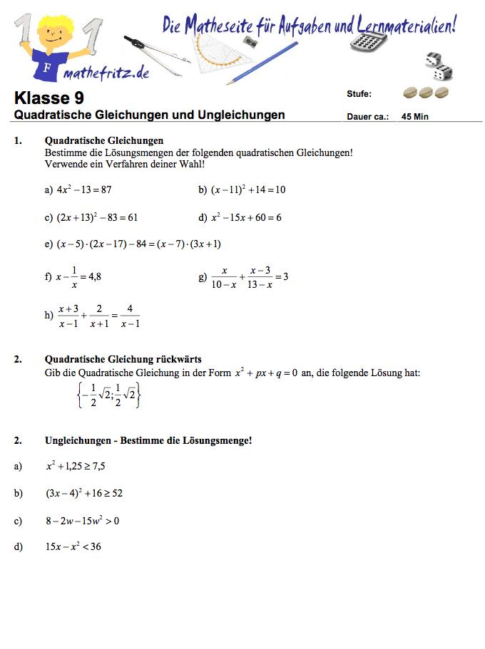 Quadratische Gleichungen Klassenarbeit: Aufgaben quadratische Gleichung