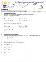 Klassenarbeit Quadratische Gleichungen lösen