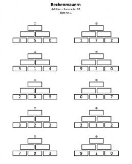 Rechenmauern Zahlenmauern bis Summe 20
