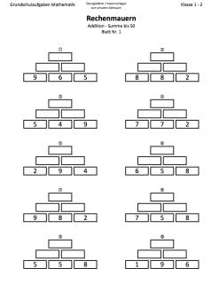 Rechenmauern und Zahlenmauern bis 50