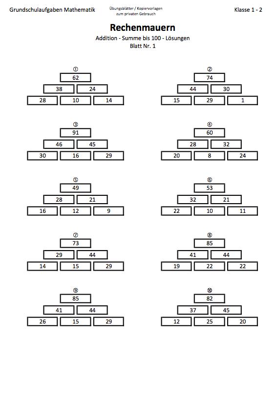 Zahlenmauern 2 Klasse bis 100 |Mathefritz Arbeitsblätter
