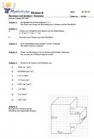 Klassenarbeit Rechnen mit Größen und Volumen in KLasse 6