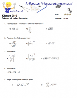 Klassenarbeit zu reellen Exponenten