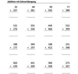 Arbeitsblätter zur schriftlichen Addition mit Zehnerübergang