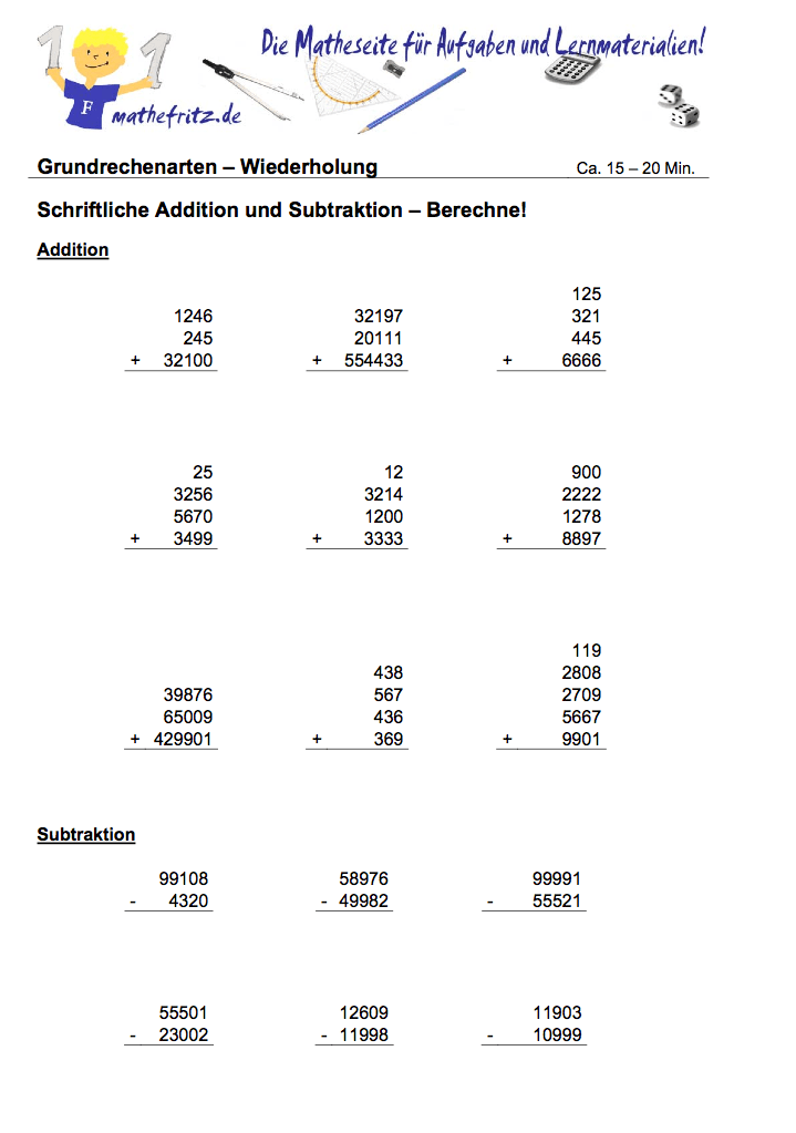 schriftliche addition subtraktion klasse 5