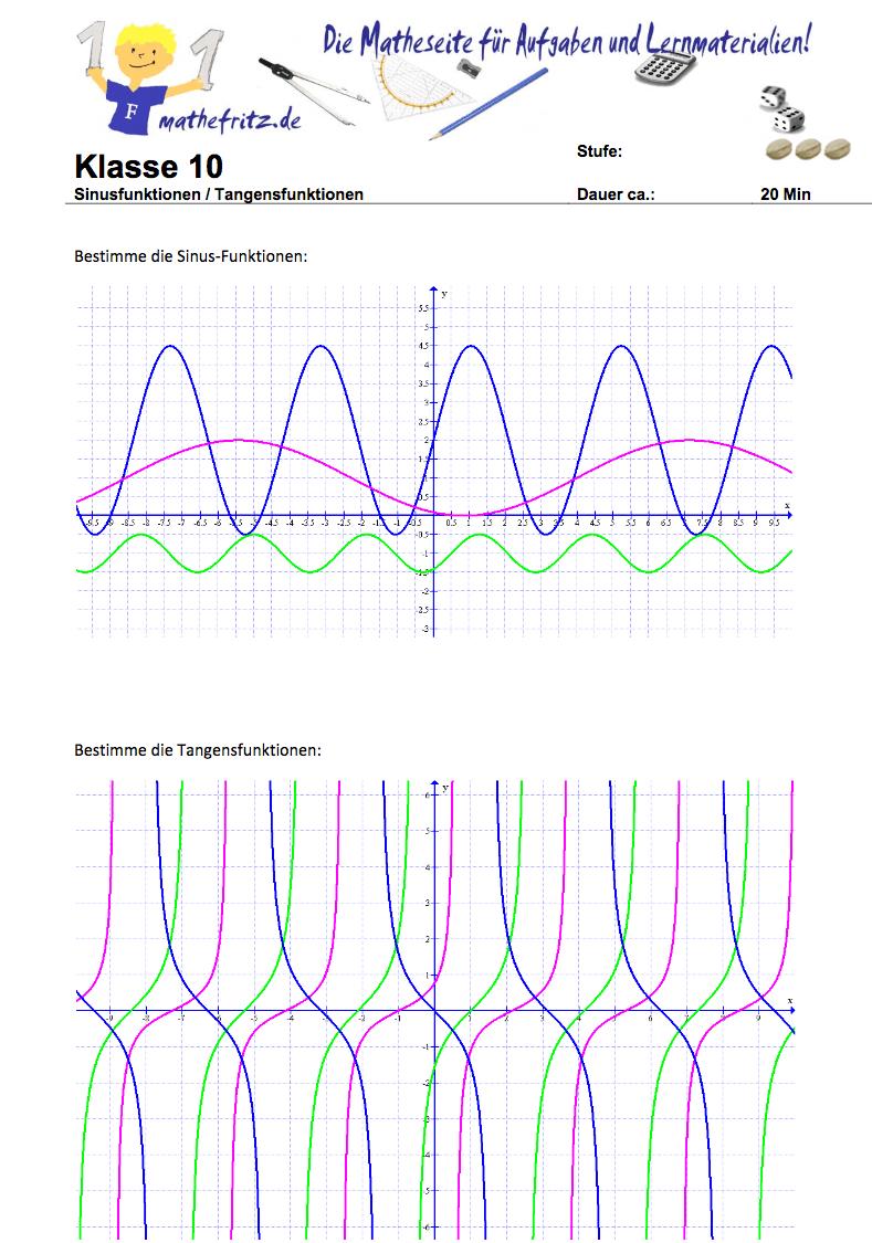 Sinusfunktionen zeichnen: Arbeitsblätter zu Sinusfunktionen