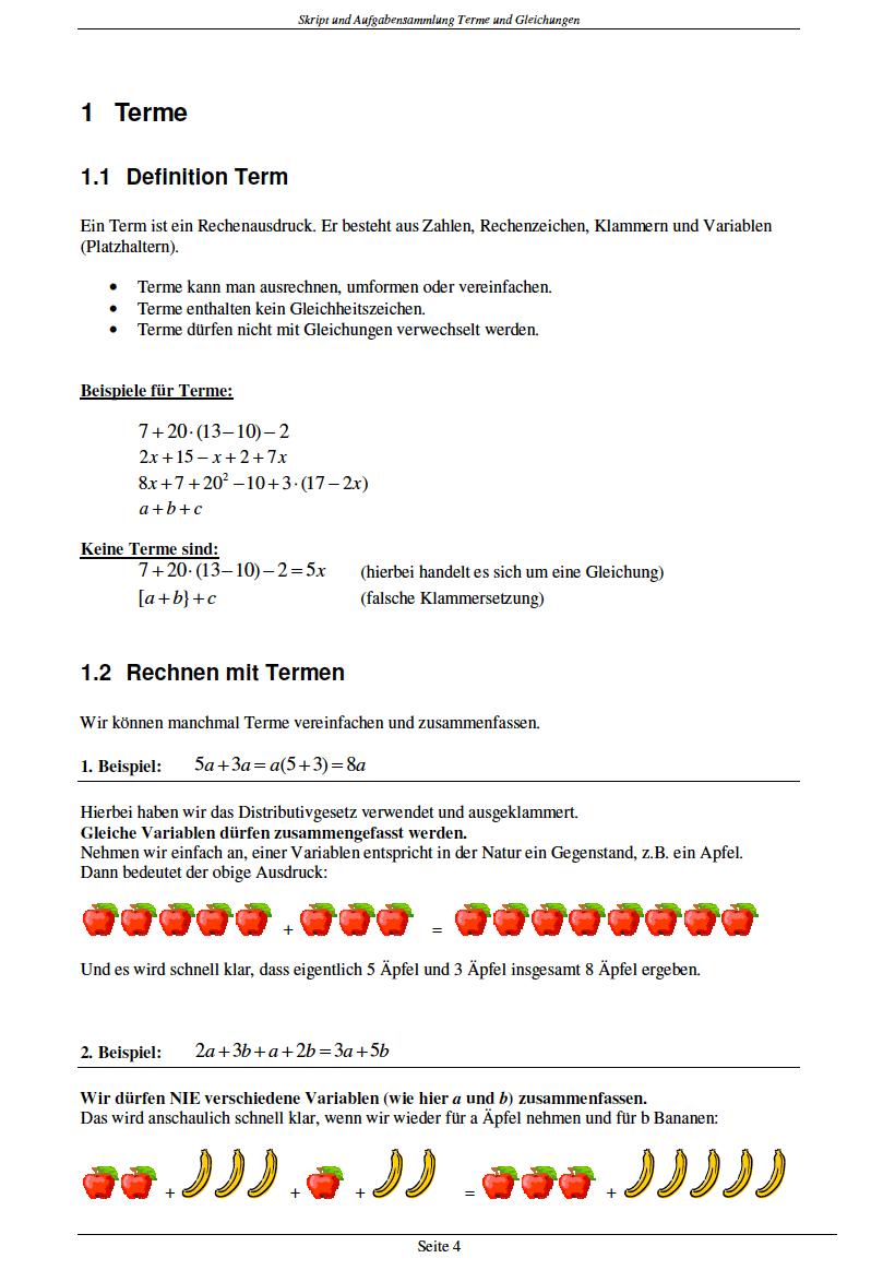 Terme vereinfachen Aufgaben und Übungen: Arbeitsblatt Terme