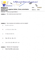 Arbeitsblatt Terme und negative Zahlen