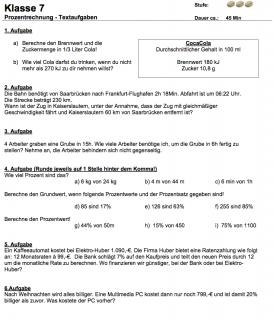 Klassenarbeit mit Textaufgaben zur Prozentrechnung