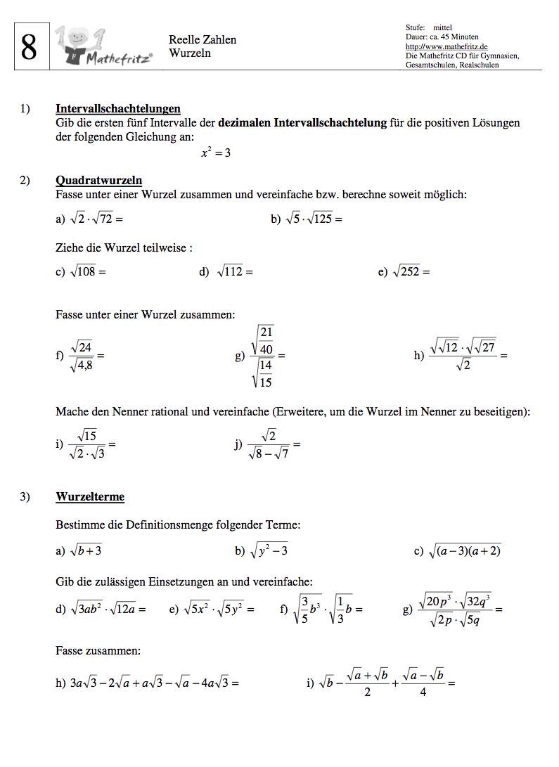 Wurzeln Aufgaben Klasse 9: Matheaufgaben Wurzeln 9. Klasse