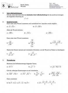 Klassenarbeit Wurzeln berechnen