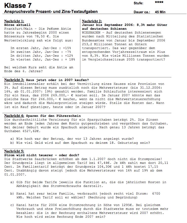 Zinsrechnung Aufgaben PDF: Matheaufgaben zur Zinsrechnung