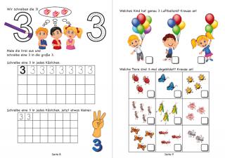 Wir lernen die Zahl 3 Drei schreiben