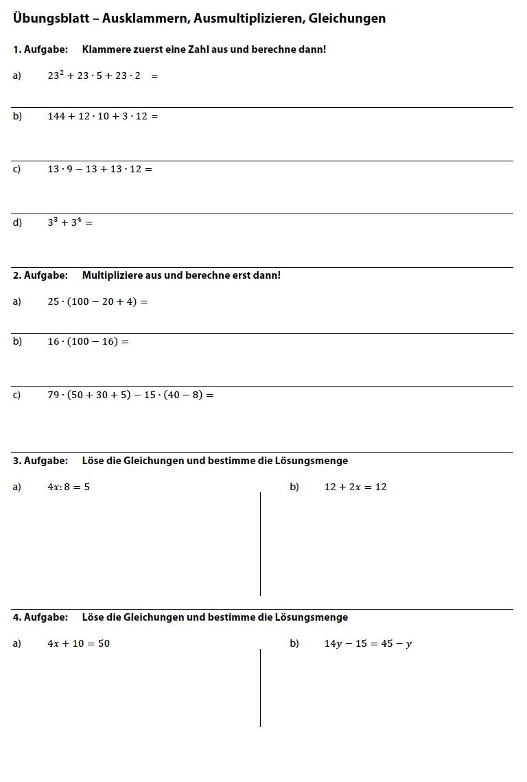 Gleichungen lösen in lösen Klasse 5: Arbeitsblatt Gleichungen