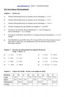Arbeitsblatt Flächeninhalte berechnen