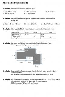 Arbeitsblatt Klassenarbeit 5 - Flächeninhalte berechnen