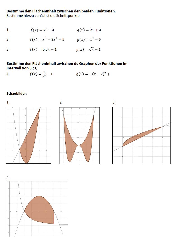 Flächeninhalt zwischen 2 Graphen von Funktionen bestimmen