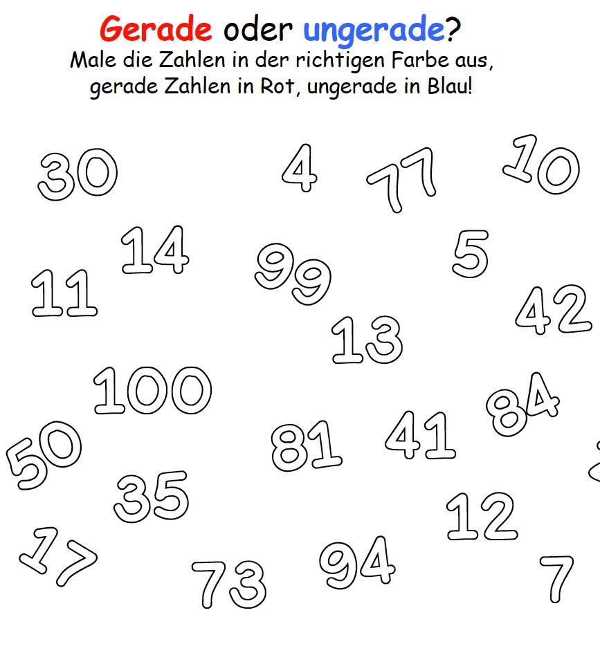 Arbeitsblatt gerade Zahlen ungerade Zahlen | Mathefritz