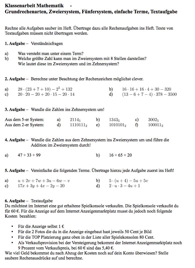 Grundrechenarten Aufgaben | Arbeitsblatt Zahlensysteme Grundrechenarten