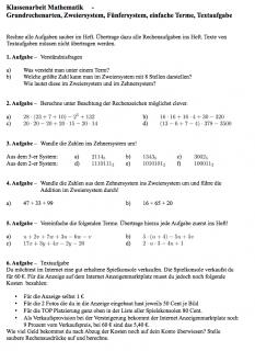 Arbeitsblatt + Lösungen