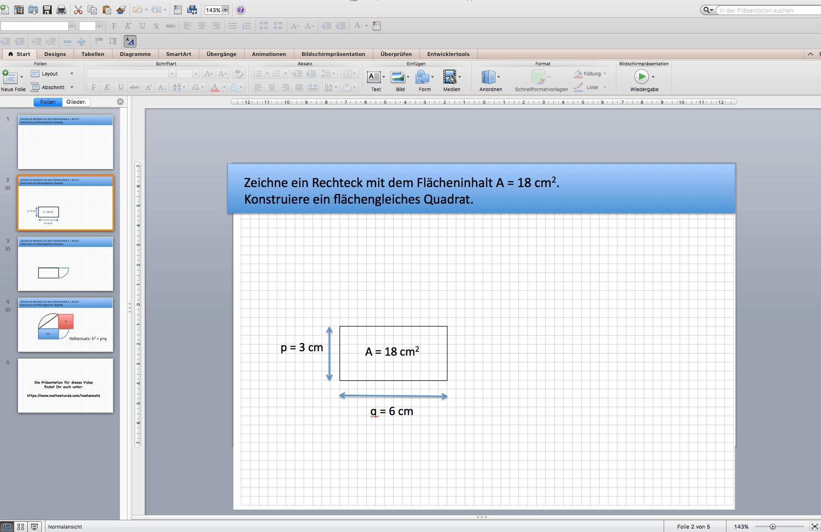 Rechteck wird flächengleiches Quadrat - Anwendung des Höhensatzes