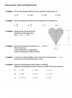 Klassenarbeit Kreis und Kreisteile 1, Trigonometrie