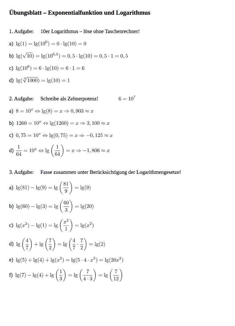 Logarithmusfunktion lösen:Aufgaben Exponetialfunktion Logarithms