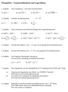Arbeitsblatt E-Funktion und Logarithmus