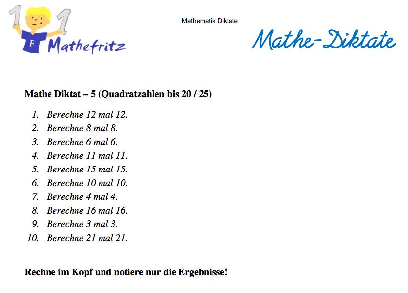 Kopfrechnen Mathematik Diktate: u00dcbung 10 Aufgaben rechnen ...