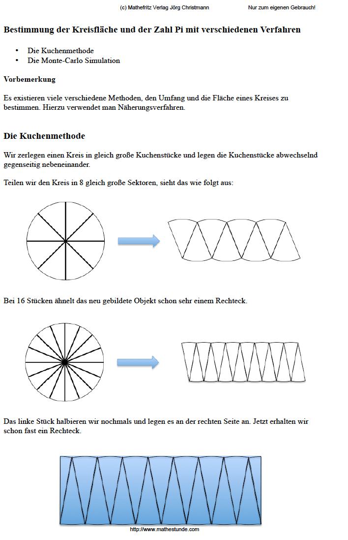 Kreiszahl Pi - Kreisflächeninhalt mit Monte-Carlo Simulation