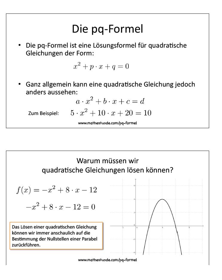 P-Q-Formel Aufgaben Übungen Herleitung zur PQ Formel