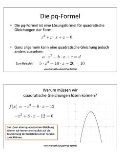 Wir leiten die pq-Formel her und lösen damit quadratische Gleichungen