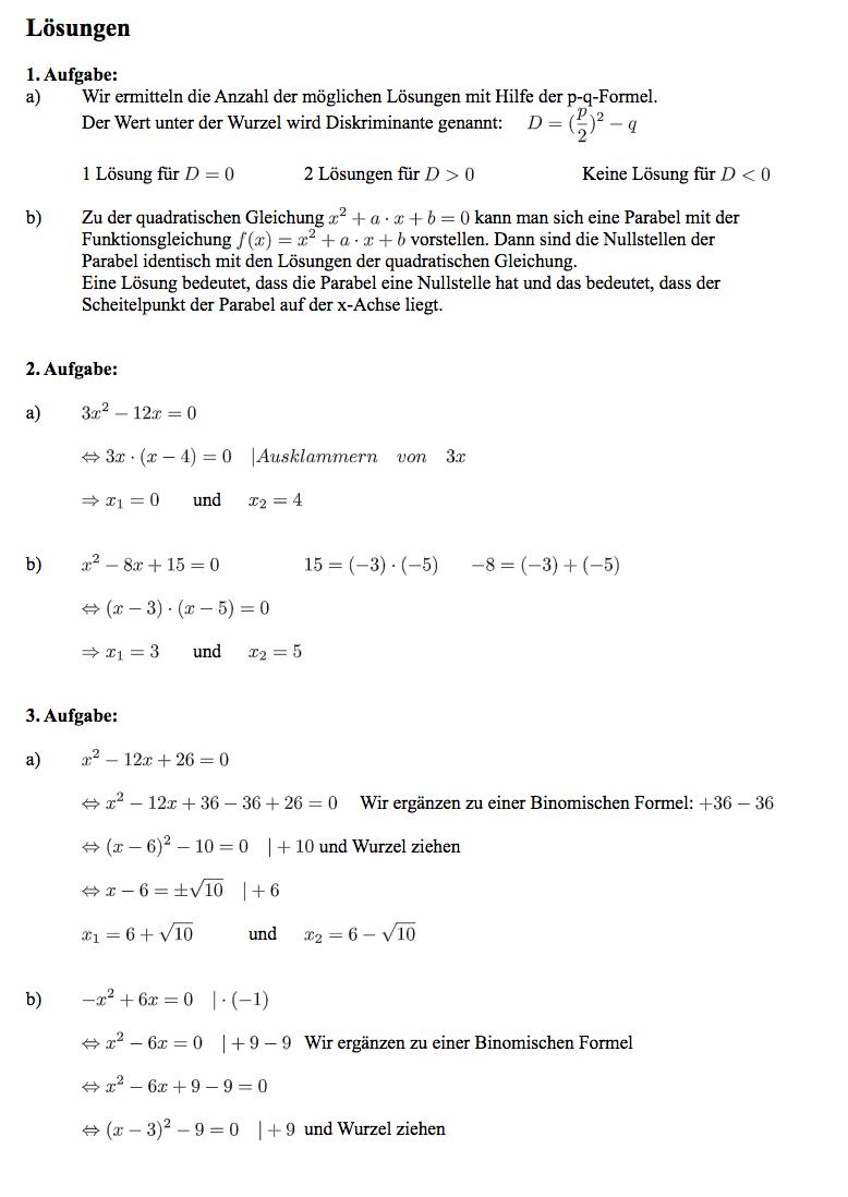 Quadratische Gleichung lösen Klasse 9 Klassenarbeit