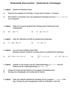 Klassenarbeit Klasse 9 quadratische Gleichungen