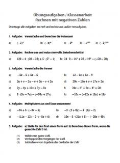 Aufgabenblatt Rechnen mit negativen Zahlen