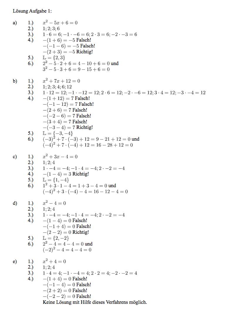 Satz von Vieta - Übungen, Aufgaben, Arbeitsblätter, Beweis