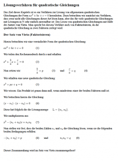 Arbeitsblatt Herleitung Satz von Vieta mit Übungsaufgaben