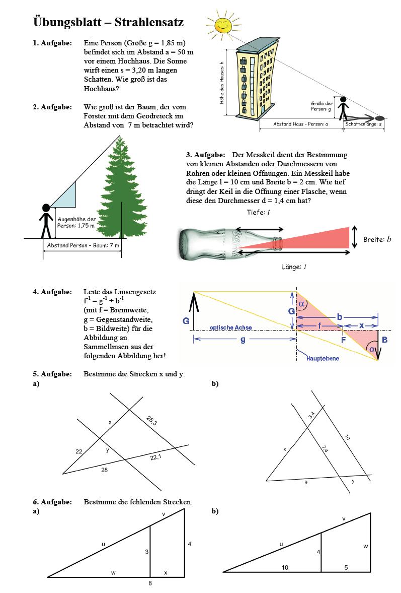 Strahlensatz Aufgaben Klasse 9: Matheaufgaben zum Strahlensatz