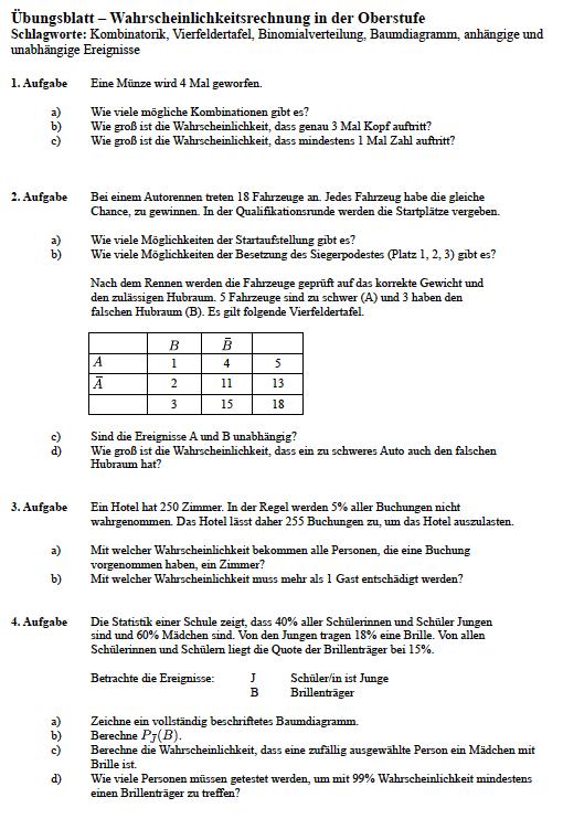 Gemütlich Unabhängige Wahrscheinlichkeit Arbeitsblatt Ideen - Mathe ...