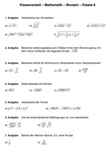 Klassenarbeit Wurzeln vereinfachen und berechnen