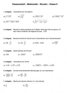 Arbeitsblatt Wurzelterme berechnen