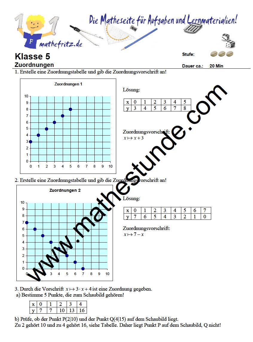 Arbeitsblatt Zuordnungen Klasse 5 | Zuordnungen üben mit Mathefritz