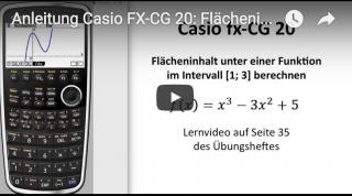 Casio FX-CG 20: Flächeninhalt unter Funktionsgraph bestimmen