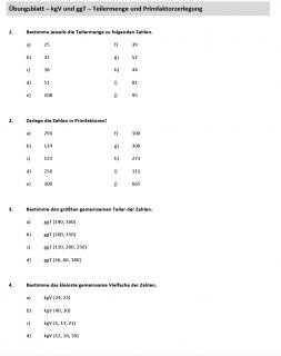Arbeitsblatt ggT kgV und Primfaktorzerlegung