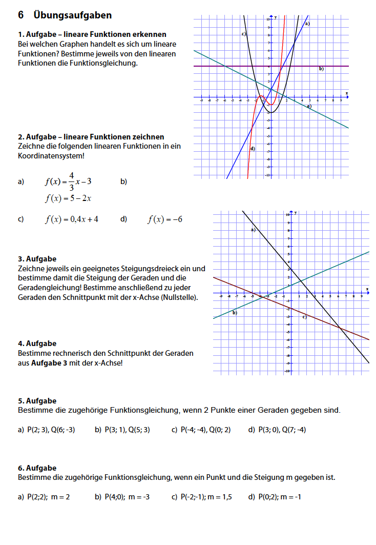 Lineare Funktionen Aufgaben PDF: alle Arbeitsblätter lineare Funktionen