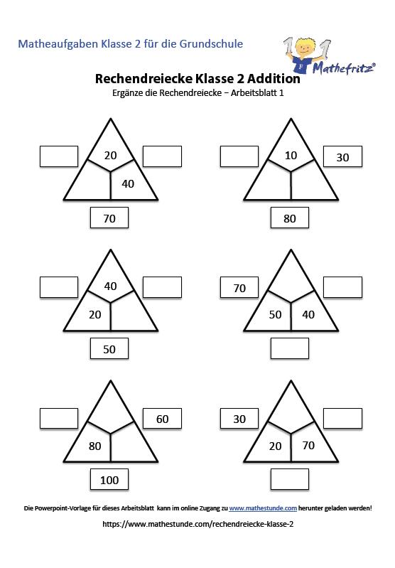 Rechendreiecke Klasse 2 | Arbeitsblätter zum Üben