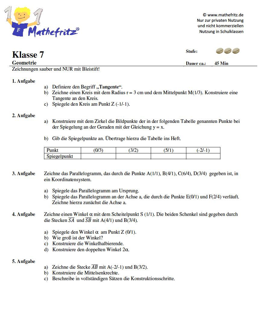 matheaufgaben geometrie klasse 7 mathefritz aufgaben zum